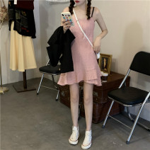 Dress Spring 2021 Suit, pink suspender skirt Average size Middle-skirt Two piece set Long sleeves commute Crew neck Elastic waist Socket Irregular skirt routine camisole 18-24 years old Type A Other / other Korean version 31% (inclusive) - 50% (inclusive) other