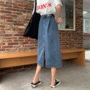 skirt Summer 2021 S,M,L,XL blue Mid length dress commute High waist A-line skirt Solid color Type A 18-24 years old 31% (inclusive) - 50% (inclusive) other other Korean version