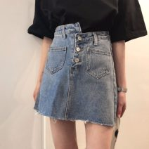 skirt Spring 2021 S,M,L Denim blue Short skirt commute High waist A-line skirt Solid color Type A 18-24 years old 31% (inclusive) - 50% (inclusive) Denim Other / other other Asymmetry Korean version