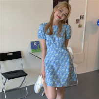 Dress Summer 2021 Picture color, picture color @ 3887 S, M Short skirt singleton  Short sleeve commute Crew neck High waist Broken flowers Socket puff sleeve 18-24 years old Type A Korean version 31% (inclusive) - 50% (inclusive)
