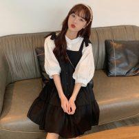 Fashion suit Summer 2021 Average size Dark shirt, black suspender skirt 18-25 years old 31% (inclusive) - 50% (inclusive)