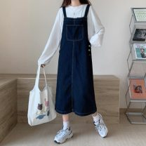 Dress Spring 2021 navy blue S,M,L,XL longuette singleton  Sleeveless commute Loose waist Solid color Socket A-line skirt other straps 18-24 years old Type A Korean version straps 31% (inclusive) - 50% (inclusive) Denim