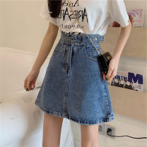 skirt Summer 2021 S,M,L,XL blue Short skirt commute High waist A-line skirt Solid color Type A 18-24 years old 31% (inclusive) - 50% (inclusive) pocket Korean version