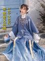 Hanfu 71% (inclusive) - 80% (inclusive) Autumn of 2019 Blue lining + cardigan + pleated skirt, skirt - one piece S. M, l, XL, XXL, XXL, plus XXL Vinylon