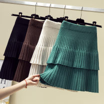 skirt Winter 2020 Average size Black, blue, green, gray, yellow, apricot, khaki, coffee longuette commute Cake skirt stripe 25-29 years old Knitted skirt 81% (inclusive) - 90% (inclusive) other other Splicing