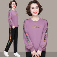 Middle aged and old women's wear Spring 2021 Black, blue, purple, pink M,L,XL,XXL,3XL,4XL leisure time suit easy Two piece set letter 40-49 years old Socket moderate Crew neck routine
