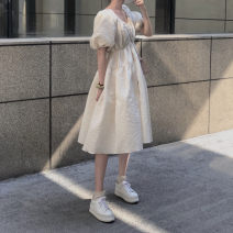 Dress Summer 2021 white S,M,L Mid length dress singleton  Short sleeve commute V-neck High waist Solid color Socket Princess Dress puff sleeve Others 25-29 years old Type X