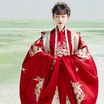 Hanfu 96% and above Winter 2020 Round collar, long coat, middle coat, horse face skirt (6 m swing), large sleeves made in Ming Dynasty, Xiahe polyester fiber