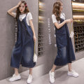 Women's large Summer 2021 blue Dress singleton  commute easy moderate Socket Solid color Korean version Denim Other / other Three dimensional decoration Medium length straps