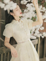 Dress Summer 2021 Light apricot S,M,L,XL Miniskirt Two piece set Short sleeve commute stand collar High waist Solid color Single breasted A-line skirt puff sleeve Others Type A Retro Lace