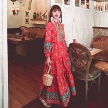 Dress Summer 2020 Red, blue S,M,L,XL longuette singleton  Nine point sleeve V-neck Embroidery
