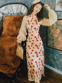 cheongsam Winter of 2019 S,M,L champagne gold  Long sleeves long cheongsam Retro High slit Oblique lapel 1650# Other / other 71% (inclusive) - 80% (inclusive)