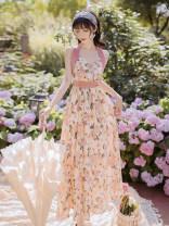 Dress Summer 2020 Decor S,M,L longuette singleton  Sleeveless commute V-neck Decor zipper Hanging neck style Retro