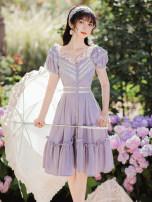 Dress Summer 2020 violet S,M,L Short skirt singleton  Short sleeve commute Solid color Single breasted Retro