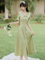 Dress Winter 2020 green S,M,L longuette singleton  Long sleeves commute High waist Solid color Socket A-line skirt routine 25-29 years old Type A Button 31% (inclusive) - 50% (inclusive) knitting polyester fiber