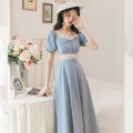 Dress Summer 2020 blue S,M,L Middle-skirt singleton  Short sleeve commute V-neck High waist zipper A-line skirt bishop sleeve Others 25-29 years old Retro Y1090 31% (inclusive) - 50% (inclusive) other