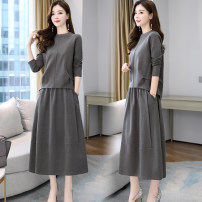 Dress Autumn 2020 Black grey bean paste M L XL XXL 3XL 4XL Mid length dress Two piece set Long sleeves commute Crew neck Elastic waist Solid color Socket A-line skirt 30-34 years old Wannpoty / Wabo Korean version egb23 More than 95% other Other 100% Pure e-commerce (online only)