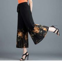 Casual pants Black, red, pink, orange L 90-109 kg, XL 110-119 kg, 2XL 120-129 kg, 3XL 130-139 kg, 4XL 140-152 kg, m 80-90 kg Ninth pants Wide leg pants High waist See description printing and dyeing