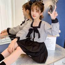 suit Other / other black 120cm,130cm,140cm,150cm,160cm,170cm female spring and autumn Sweet Long sleeve + skirt 2 pieces There are models in the real shooting Socket nothing houndstooth  knitting friend perform Class B 3, 4, 5, 7, 8, 9, 10, 11, 12, 13, 14 Chinese Mainland Shanghai