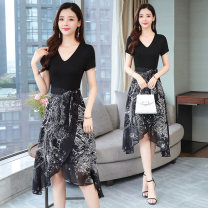 Dress Summer 2020 Mid length dress Fake two pieces Short sleeve commute V-neck High waist Decor Socket A-line skirt routine Type A Other / other Korean version Chiffon cotton