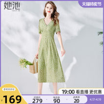 Dress Summer 2021 Green Decor S M L XL Mid length dress other Short sleeve commute V-neck High waist Broken flowers Socket A-line skirt routine 25-29 years old Type X She pool Simplicity printing T02Z1485L More than 95% polyester fiber Polyester 100%