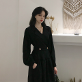 Dress Autumn of 2019 S,M,L,XL Mid length dress singleton  Long sleeves commute V-neck Elastic waist Solid color Socket Big swing other Others 18-24 years old Type A Other / other Retro Pocket, button 30% and below