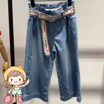trousers peace kids female 110cm,120cm,130cm,140cm,150cm Denim blue summer trousers Britain No model Jeans Leather belt middle-waisted cotton Don't open the crotch Cotton 76.6% polyester 23.4% F2HA92124 Class B Chinese Mainland