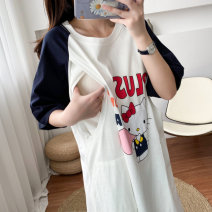 Nursing clothes M, L You Li ma mi Socket summer Short sleeve have more cash than can be accounted for Korean version Dress Cartoon animation Side opening cotton