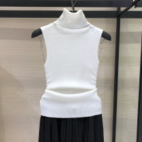 Wool knitwear Spring 2021 2 / s, 3 / m, 4 / L, 5 / XL White, black Sleeveless singleton  Socket wool More than 95% Regular routine commute Self cultivation High collar routine Solid color Socket Pinge Dixin