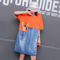 Dress Summer 2021 Black, orange Average size Mid length dress Short sleeve street Crew neck Loose waist Socket A-line skirt Type A E736 Denim cotton Europe and America