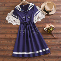 Dress Summer 2021 Cyan 2226 S,M,L,XL,2XL Mid length dress singleton  Short sleeve commute Admiral Loose waist Solid color Socket A-line skirt routine Type A Bowknot, lace up, stitching cotton