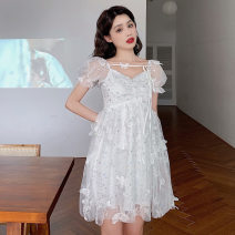 Dress Summer 2020 White short, white long S,L,M Short skirt singleton  Short sleeve Sweet V-neck High waist Solid color Princess Dress puff sleeve Others Independent brand Stitching, bows 71% (inclusive) - 80% (inclusive) polyester fiber