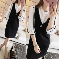 Women's large Summer 2020, spring 2020, autumn 2020 Black dress + white shirt L [suggested 100-120 kg], XL [suggested 120-145 kg], 2XL [suggested 145-170 kg], 3XL [suggested 170-200 kg], spring clothes are hot on the spot, and the price will be reduced by 3 yuan Two piece set commute easy thin Socket
