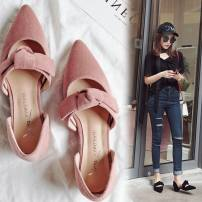 Low top shoes 34 35 36 37 38 39 Other / other Black Pink apricot Sharp point Square heel Xishirong Shallow mouth Low heel (1-3cm) PU Spring 2017 rubber