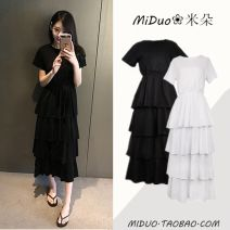 Dress Summer 2020 White, black () S,M,L,XL longuette singleton  Short sleeve commute Crew neck High waist Solid color Socket Cake skirt routine Others 18-24 years old Type A Korean version Ruffles, tassels, tridimensional decoration GD514-A -1070 81% (inclusive) - 90% (inclusive) cotton