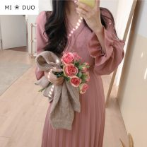 Dress Spring 2020 Black dress, pink dress, white dress S. M, l, XL, one size fits all Mid length dress singleton  Long sleeves commute V-neck High waist Solid color other Pleated skirt pagoda sleeve Others 18-24 years old Type A Other / other Korean version Bowknot, fold, lace, bandage Chiffon