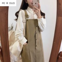 Dress Autumn of 2019 Khaki, coffee S,M,L,XL Mid length dress singleton  Sleeveless commute One word collar High waist Solid color Single breasted A-line skirt other straps 18-24 years old Type A Korean version Strap, button 51% (inclusive) - 70% (inclusive) other other