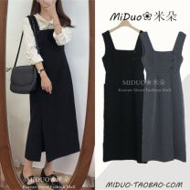 Dress Autumn of 2019 Gray, black S,M,L,XL Mid length dress singleton  Sleeveless commute One word collar High waist Solid color zipper other straps 18-24 years old Type A Other / other Korean version Zipper, button, strap, fold 1865# 31% (inclusive) - 50% (inclusive) other other