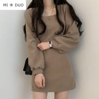 Dress Winter 2020 Khaki, black S,M,L,XL Short skirt singleton  Long sleeves commute square neck Elastic waist Solid color zipper A-line skirt puff sleeve Others 18-24 years old Type A Korean version 71% (inclusive) - 80% (inclusive) other