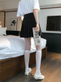 skirt Summer 2020 XS,S,M,L,XL White, gray, black, Navy, pink, scarlet Short skirt Versatile High waist Pleated skirt Solid color Type A 18-24 years old Fold, button, zipper