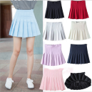skirt Summer 2017 XS,S,M,L,XL Short skirt Versatile High waist Pleated skirt Solid color Type A 18-24 years old