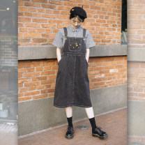 Dress Spring 2020 Charcoal black S, M Mid length dress singleton  Sleeveless Sweet Loose waist straps 18-24 years old Type H Other / other Embroidery, pocket 81% (inclusive) - 90% (inclusive) Denim solar system
