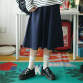 skirt Autumn of 2018 Single code Blue gray dark orange Khaki Navy Mid length dress Sweet Natural waist A-line skirt Solid color Type A 18-24 years old More than 95% cotton solar system
