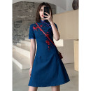 cheongsam Summer of 2019 S M L XL XXL Denim embroidery Short sleeve Short cheongsam grace No slits daily Decor 18-25 years old Embroidery HLQ19189 Lotus love other Other 100%