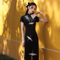 cheongsam Spring 2021 M L XL XXL XXXL (short sleeve) streamer embroidery black Short sleeve Short cheongsam Retro Low slit daily Oblique lapel Solid color 25-35 years old Embroidery HLQ21446 Lotus love other Other 100% Pure e-commerce (online only)