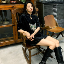 cheongsam Autumn of 2019 S M Black cat Short sleeve Short cheongsam Simplicity No slits daily Animal design 18-25 years old Piping HLQ19273 Lotus love other Other 100%