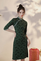 cheongsam Autumn 2020 S M L XL XXL Mori Butterfly other long cheongsam Retro Low slit daily Oblique lapel other 18-25 years old Piping HLQ20267 Lotus love other Other 100% Pure e-commerce (online only) 96% and above