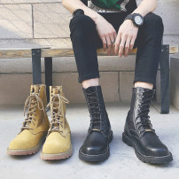 Boots Luo Yuxi 35363738394041424344 Frenulum cloth Middle cylinder Double skin (except cattle suede) Black (high band) desert (high band) black (middle band) desert (middle band) Double skin (except cattle suede) cloth Martin boots Round head Britain rubber wear-resisting summer Flat heel Sewing PU