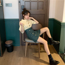 Women's large Summer 2021 Shirt + skirt Large L, large XL, s, M T-shirt Two piece set commute easy moderate Socket Short sleeve Other, solid Korean version Polo collar routine Others, polyester Three dimensional cutting shirt sleeve 18-24 years old 96% and above Short skirt other