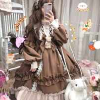 Dress Summer 2020 Brown bear OP, blue bear OP, brown OP [no bear bow], blue OP [no bear bow] Mid length dress singleton  Long sleeves Sweet stand collar Socket Princess Dress Under 17 More than 95% polyester fiber Lolita